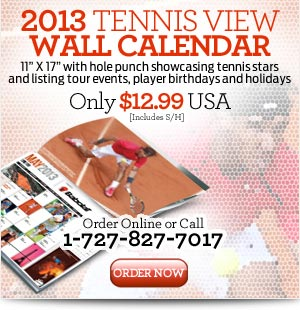 Tennis View Wall Calendar Gift