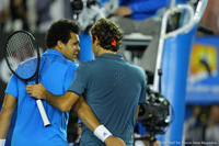 Jo-Wilfried Tsonga and Roger Federer Australian Open 2014
